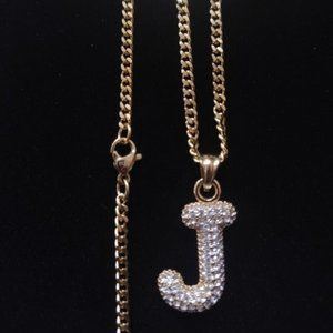 Jewelry - Icy Initial 'J' Pendant + Link chain